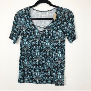 American Eagle Floral Lace Up Top